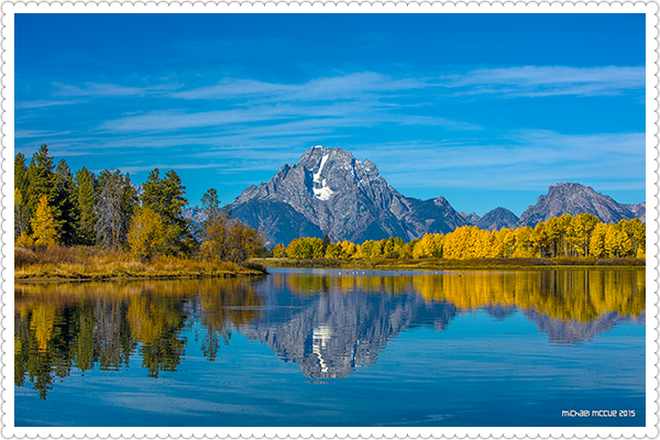 This is a photo of Mt. Moran and Ox Bow Bend in Grand Teton National Park